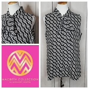 Macbeth Collection Pussy Bow sleeveless Top NWT